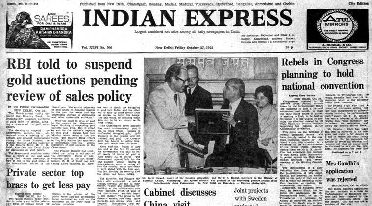 forty years ago, Indira Gandhi government, RBI, CEO salary cut, indian express editorial
