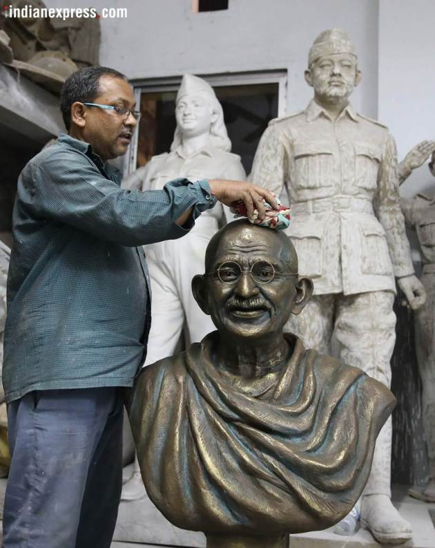 mahatma gandhi, 150th birth anniversary, mahatma gandhi photos, mahatma gandhi statue