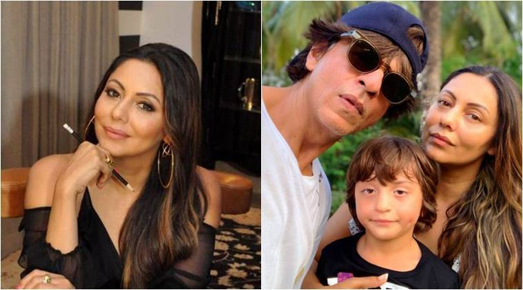 gauri khan with shah rukh khan and abram