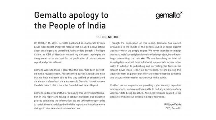 Digital security firm Gemalto issued another apology on Saturday.