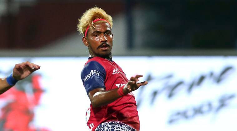Gourav Mukhi of Jamshedpur FC watches after kicking the ball to score a goal against Bengaluru FC during the Hero Indian Super League (ISL)