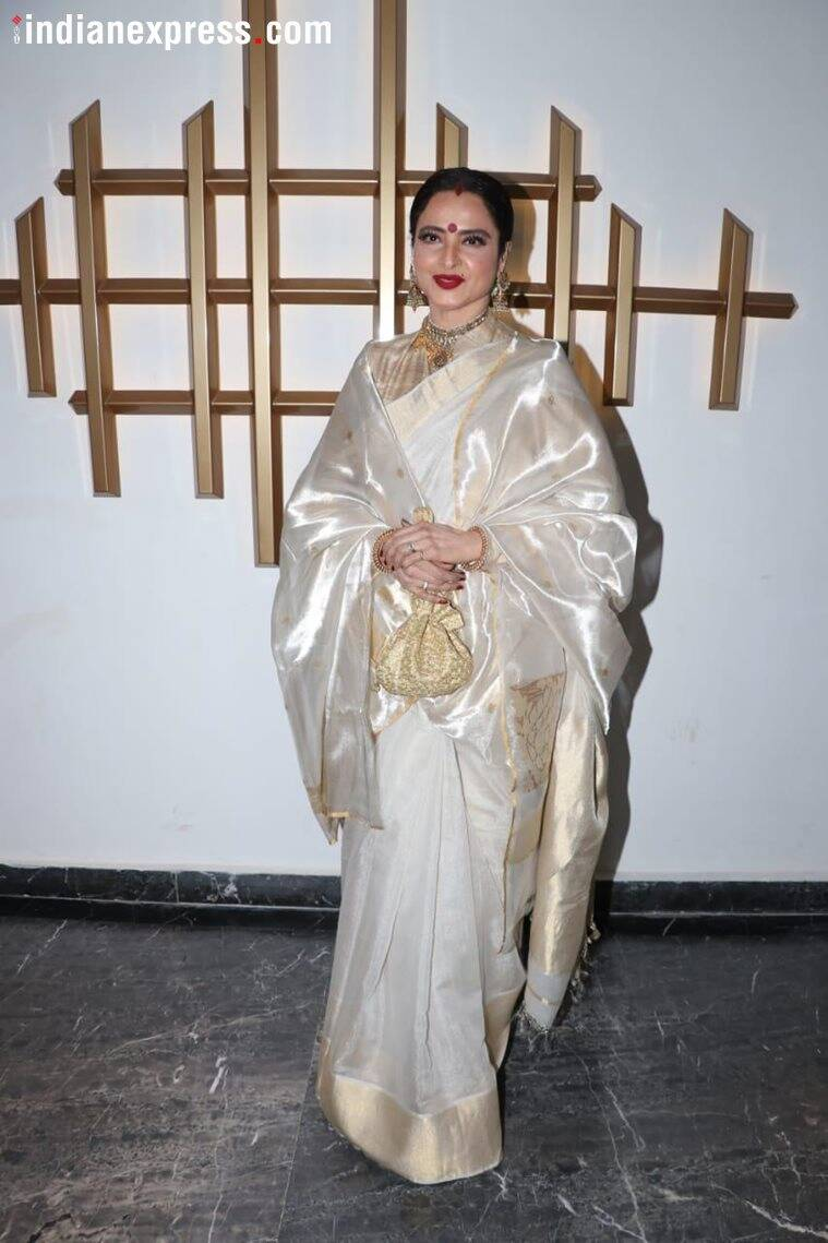 rekha at hema malini's birthday party