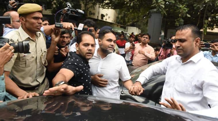 Ashish Pandey outside Delhi's Patiala House Court on Thursday. (Express photo/Tashi Tobgyal)
