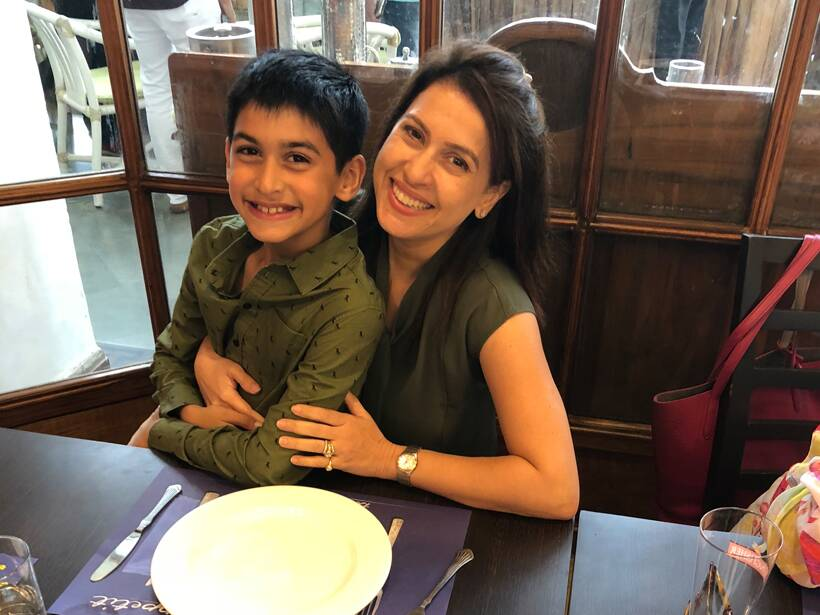 Amrita Raichand and son