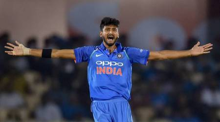 Indian player K Khaleel Ahmed celebrates the dismissal of West Indies' player Shimron Hetmyer during the 4th ODI cricket match at Brabourne Stadium, in Mumbai