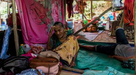 Residents at a makeshift camp in Indonesia after tsunami
