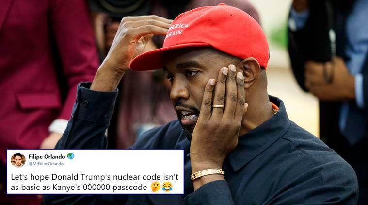 Kanye West, Kanye West password, Kanye West iphone passcode, Kanye West trump meeting, Kanye West memes, Kanye West password jokes, Kanye West 000000 pasword, funny news, indian express