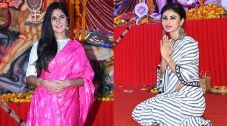 katrina kaif and mouni roy at durga puja