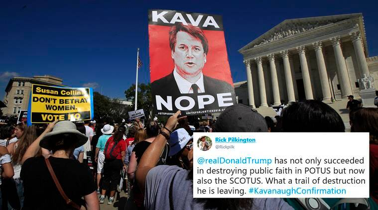 brett kavanaugh, kavanaugh confirmation, kavanaugh protest, kavanaugh fbi report, kavanope, me too movement, Kavanaugh supreme court confirmation, world news, indian express