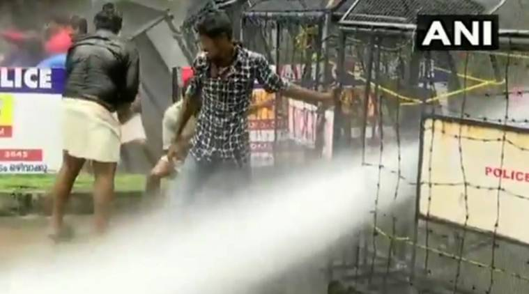Police resorted to water cannons in an attempt to manage the crowd. (ANI)