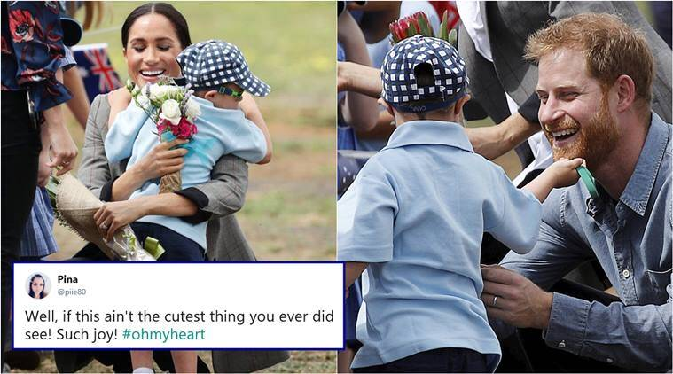 prince happy, meghan markle, royal tour australia, harry meghan in dubbo, boy rubs prince harry beard, boy hugs meghan markle, prince harry with kids, harry meghan kids, indian express, viral news