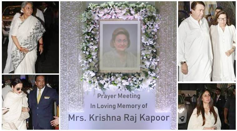 Krishna Raj Kapoor prayer meet photos