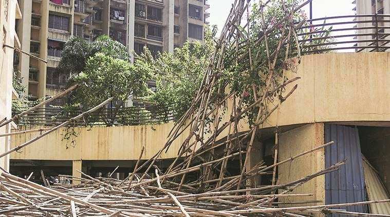 scaffolding collapse, workers injured, construction workers injured, scaffolding of a multi-storey building, Thane accident, indian express