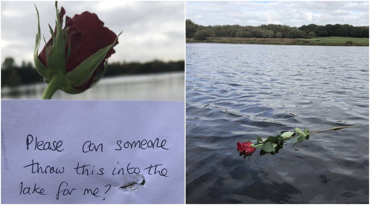heartbreaking viral tweet, note left near water, heartbreaking note left with a rose, note left with note,