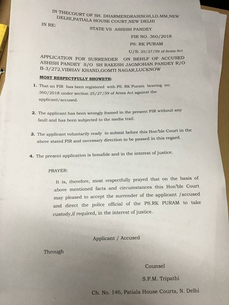 A copy of the bail application filed by Ashish Pandey on Thursday.