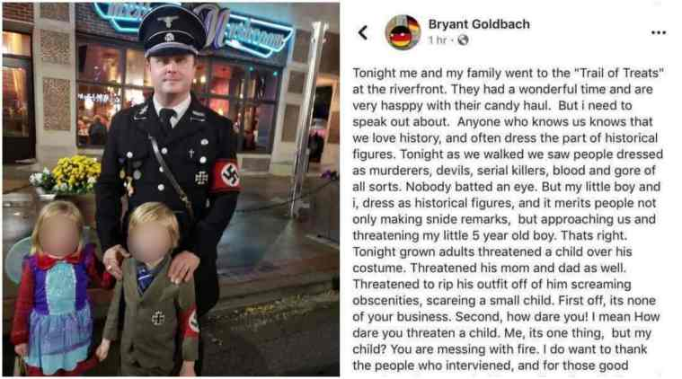 Hitler, Hitler Halloween, the man dresses Hitler, the children dress Hitler, the man apologizes after the peroration Hitler, viral photos