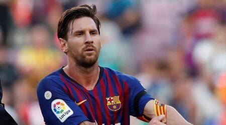 Barcelona's Lionel Messi looks dejected after the match against Athletic Bilbao