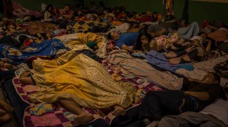 Migrants from Honduras rest in Guatemala City