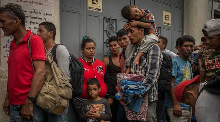 Migrants in a makeshift shelter in Guatemala City