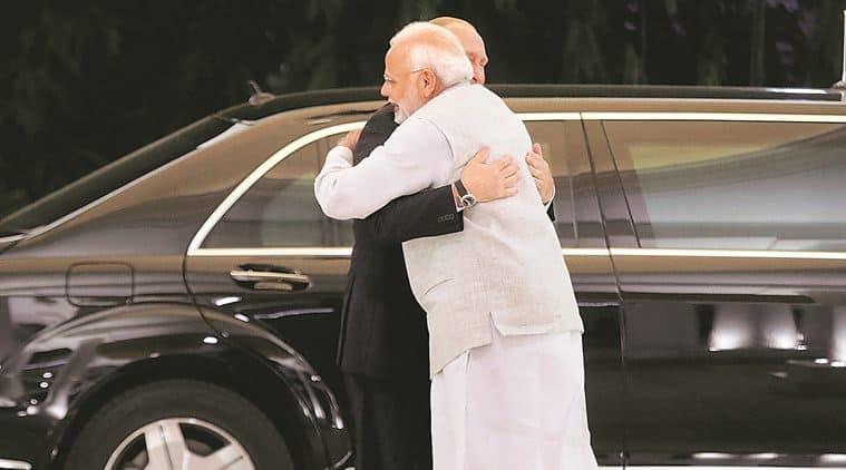 Prime Minister Narendra Modi welcomes Russian President Vladimir Putin to New Delhi on Thursday