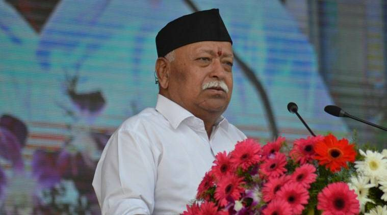 RSS chief Mohan Bhagwat addresses the crowd at a Vijayadashami event in Nagpur on Thursday. (Twitter/@RSSorg)
