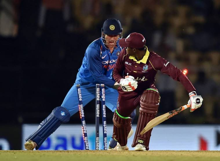 Indian wicket keeper MS Dhoni stumps West Indies' Keemo Paul during the 4th ODI cricket match, at Brabourne Stadium in Mumbai, Monday, Oct 29, 2018
