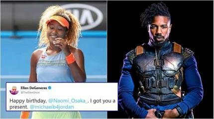 Ellen DeGeneres tries to set-up tennis star Naomi Osaka with Black Panther's Michael B Jordan
