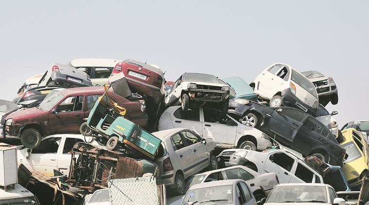 Old vehicles, old vehicles in delhi, scrapping old vehicles, 15-year-old vehicle, delhi 15 years old vehicles pollicy, air pollution, petrol vehicles, diesel vehicles life, indian express