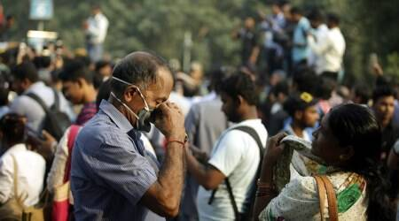 Delhi's air quality was on the brink of turning severe Thursday. (Express photo/Prem Nath Pandey)