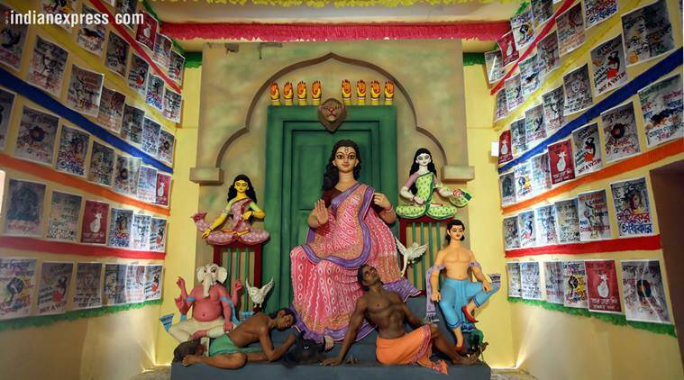 Durga Puja, Durga Puja 2018, Durga Puja unique themes, sonagachi, Durga Puja sex workers puja, Durga Puja sonagachi, Ahiritola Jubakbrinda, north kolkata pujas, indian express, kolkata news, india news