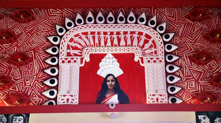 A Durga Puja pandal created for visually impaired devotees and visitors