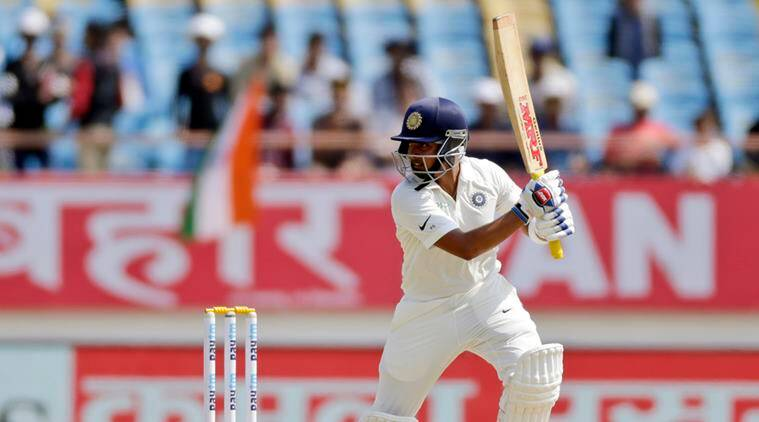 Indian cricketer Prithvi Shaw bats during the first day of the first cricket test match between India and West Indies in Rajkot