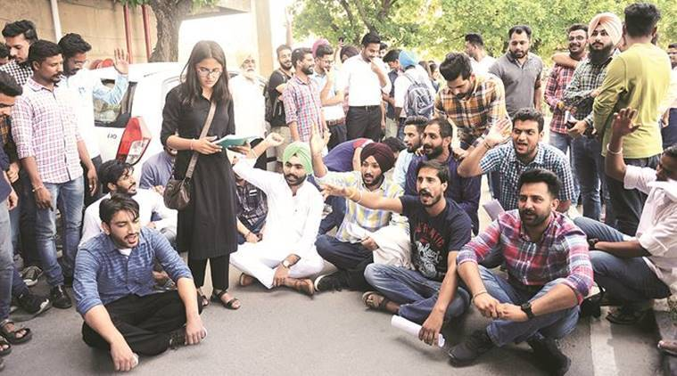 Panjab University: Student council office-bearers protest against fee hike for EWS students