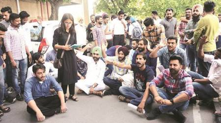 Panjab University: Student council office-bearers protest against fee hike for EWSstudents