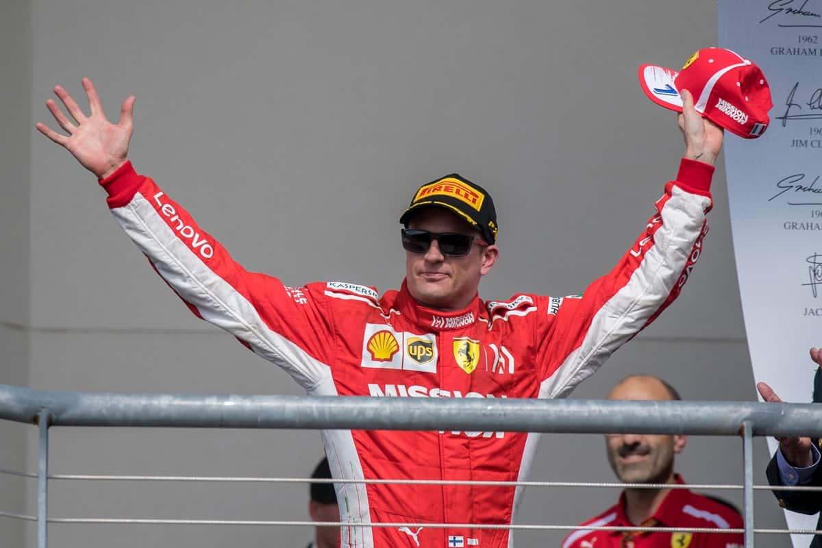 Ferrari driver Kimi Raikkonen (7) of Finland celebrates winning the United States Grand Prix at Circuit of the Americas.