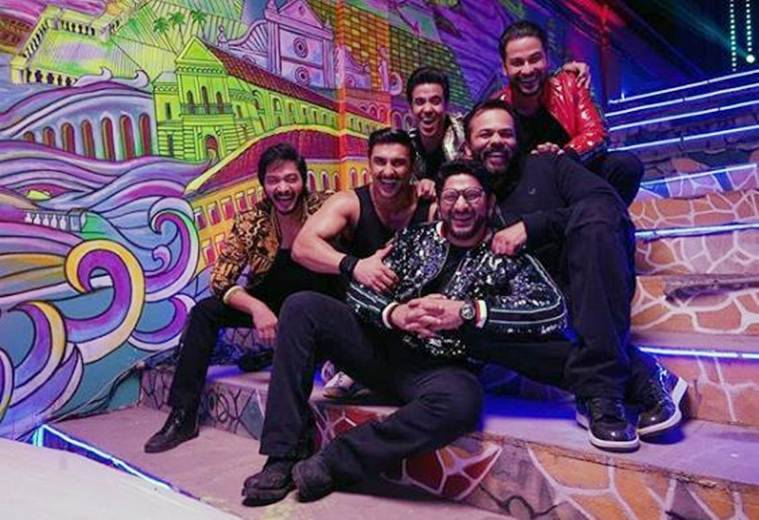 Ranveer Singh with Golmaal actors on Simmba sets