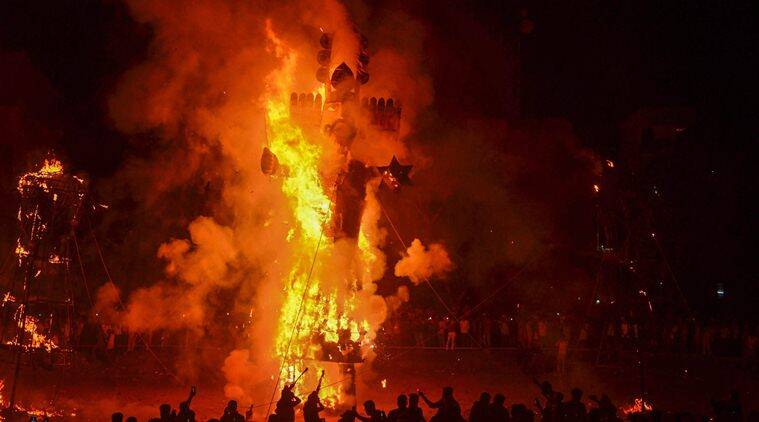 delhi pollution, dussehra pollution, ravana burning, dussehra air pollution, indian express, CPCB, latest news