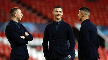 Juventus' Cristiano Ronaldo (centre) during the walkaround at Old Trafford, Manchester.
