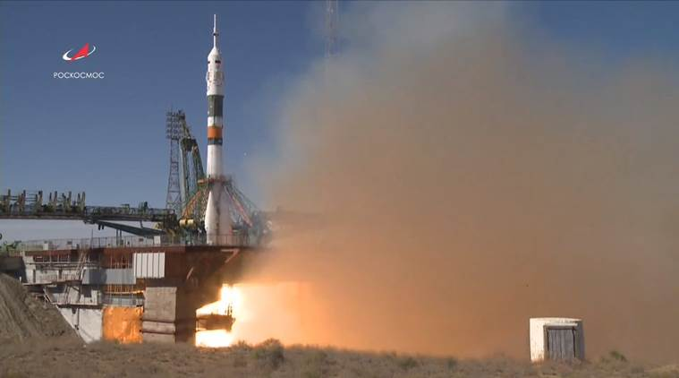 Moment Soyuz rocket failed captured on camera from SPACE