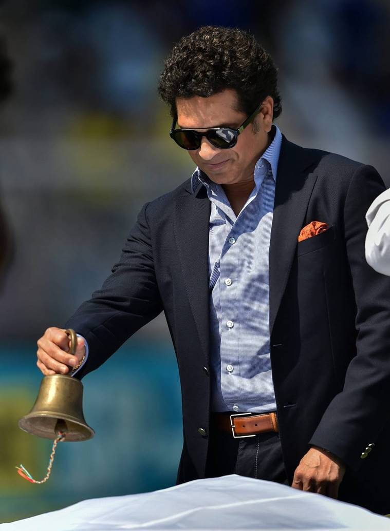 Mumbai: Former India player Sachin Tendulkar rings a bell before the 4th ODI cricket match between India and West Indies at Brabourne Stadium, in Mumbai, Monday, Oct 29, 2018.