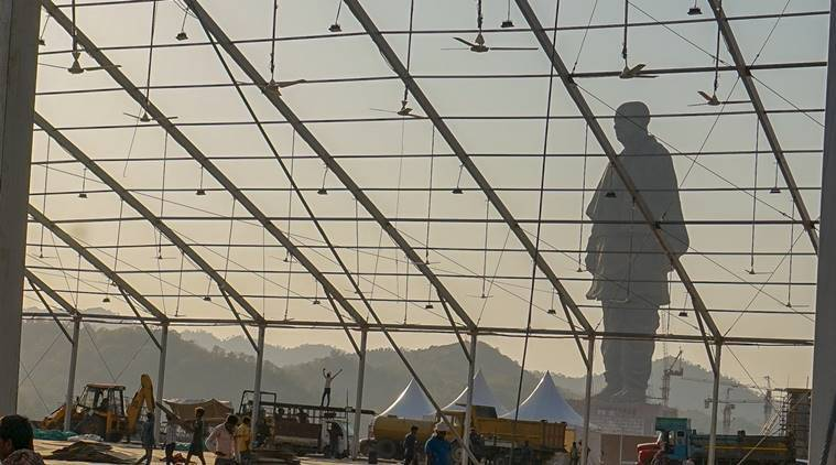 Work in full swing at the site of the Statue of Unity in Kevadia colony on Thursday for the unveiling ceremony