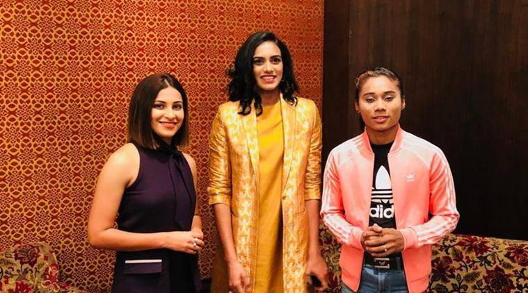 Heena Sidhu (L), PV Sindhu (C) and Heema Das (R) at the HT Leadership Summit 2018.