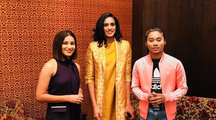 Heena Sidhu (L), PV Sindhu (C) and Heema Das (R) at the HT Leadership Summit 2018.