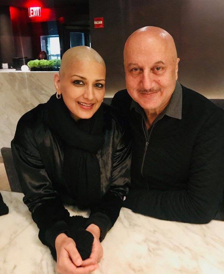 Anupam Kher with Sonali Bendre in New York