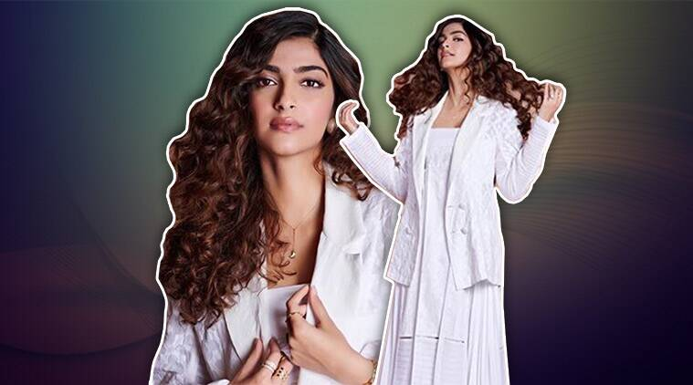 Sonam Kapoor looks gorgeous in an all-white ensemble but her curls have our attention