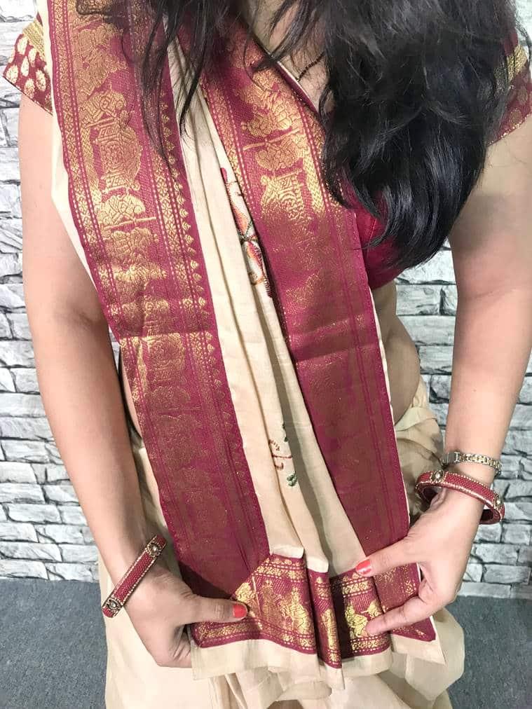 Gujarati sari, Gujarati style sari, step to step Gujarati saree wearing style