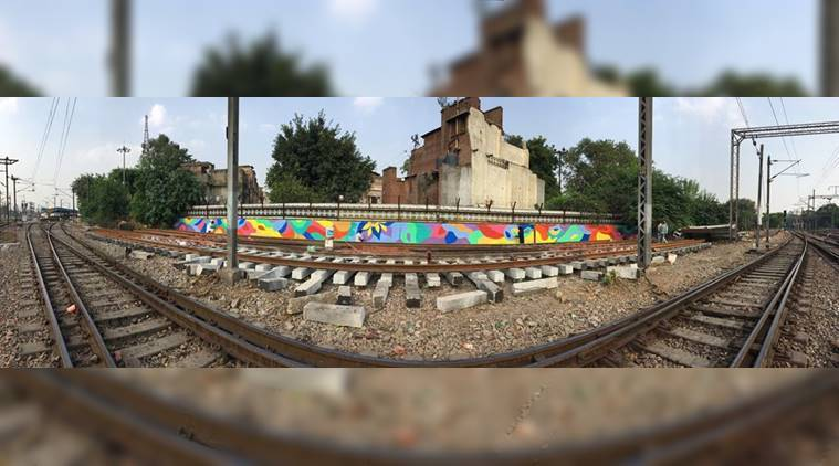 delhi street art, street art, graffiti, wall street art, team dsa, painting delhi railway station, painting, railway station painting, delhi, indian express, indian express news