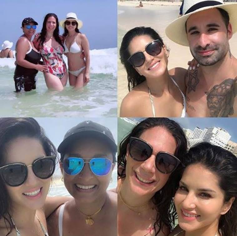 Sunny Leone beach vacation Mexico bikini photos