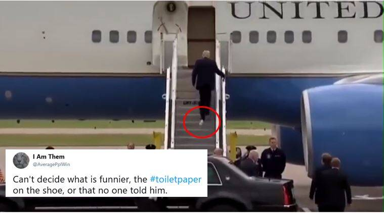 Toilet paper sticking out of Trumps shoes leaves Twitter in splits