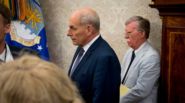 White House Chief of Staff John Kelly (center) looks on with John Bolton, the national security adviser, as President Donald Trump met Mark Rutte, the Dutch prime minister, in Washington last year. (The New York Times/File)
